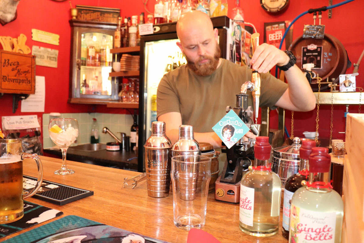 A 'ChiQuiOui' Gin on draught from the quirky microscope tap.