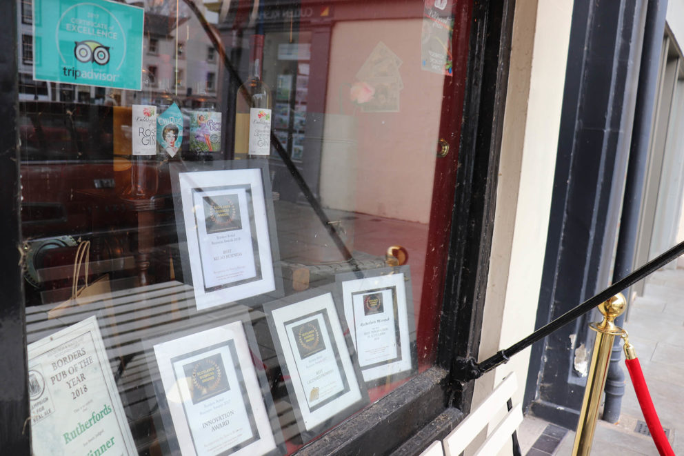 A display of the awards won by Rutherford's micropub