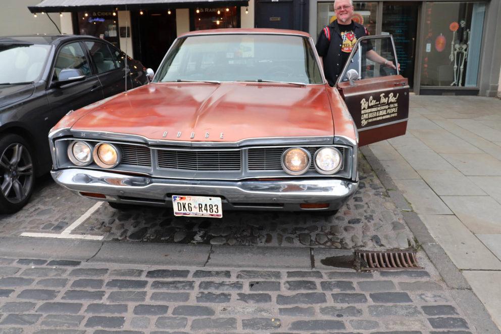 Simon showing me Rutherford's company car: the beautiful Monica the Dodge Monaco!