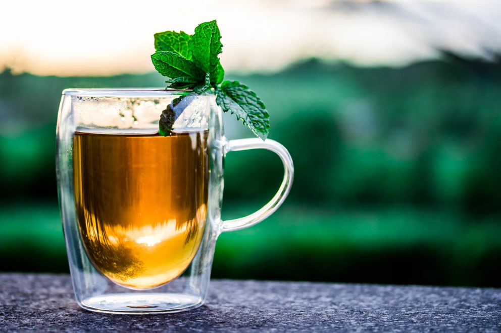 A herbal tea made from mint leaves.