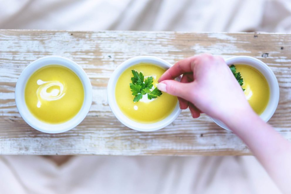 Parsley used to garnish a bowl of soup