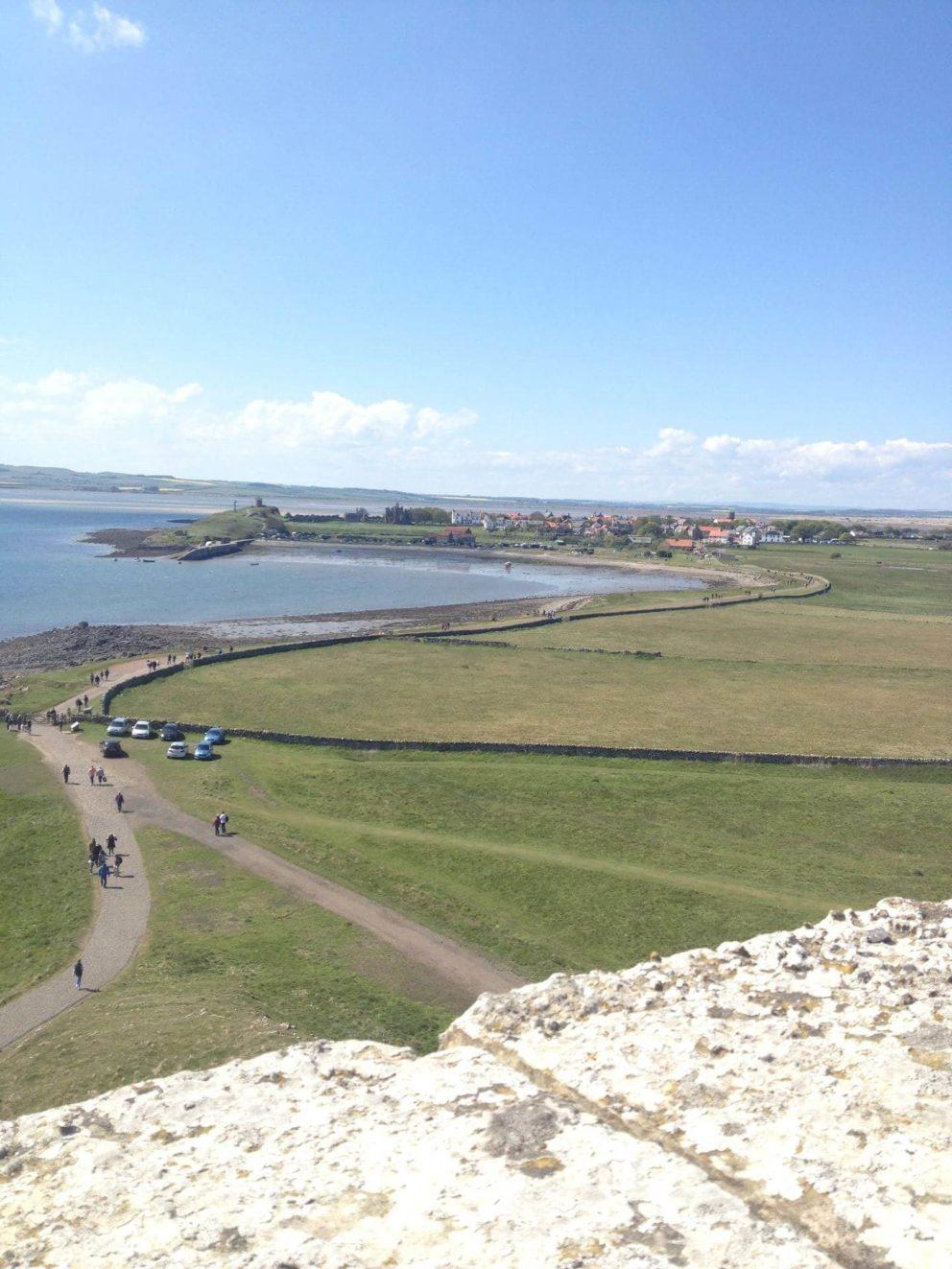 View from hilltop near Lindisfarne Castle