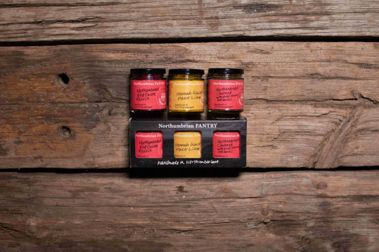 Nearby Hadrian's Wall inspired the packaging for this trio of Northumberland-style chutneys and relish