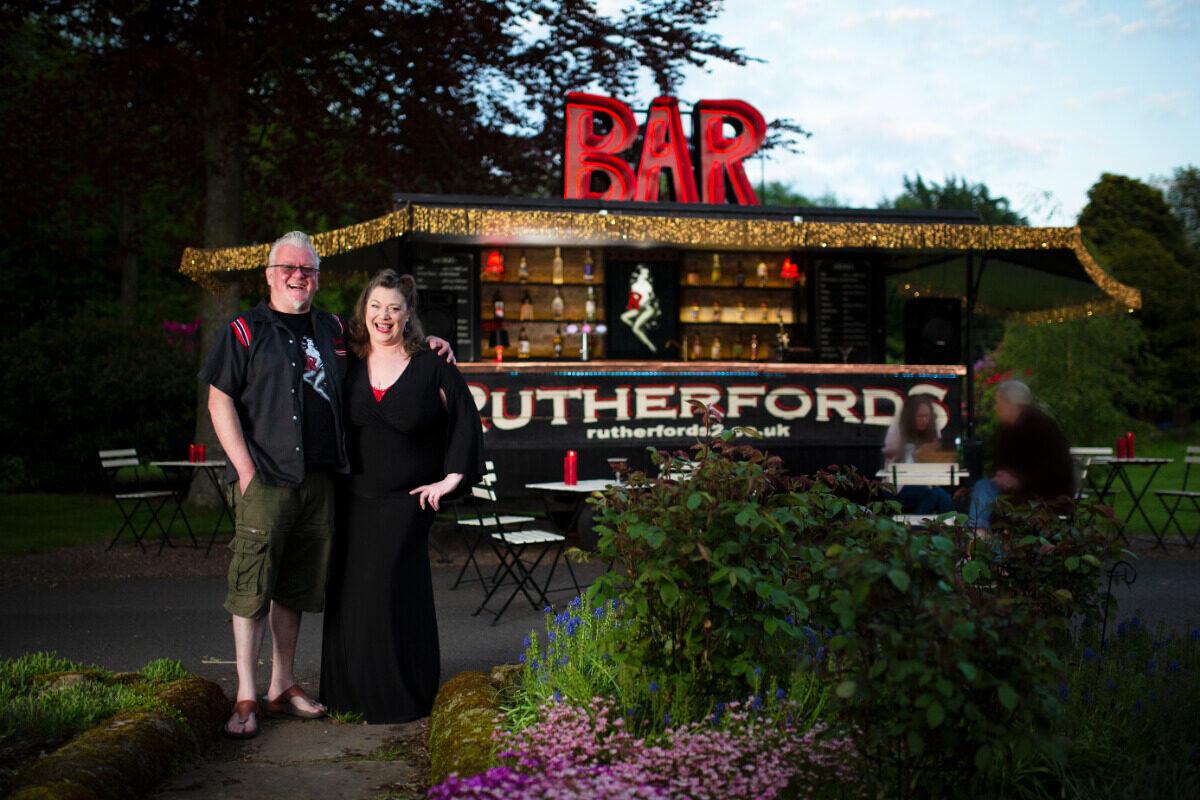 Debbie & Simon outside their new portable bar; Rutherfords 2!